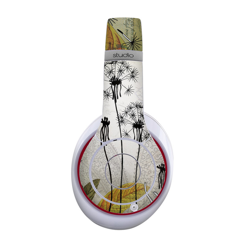 Beats Studio Wireless Skin design of dandelion, Nature, Dandelion, Plant, Flower, Botany, Wildflower, Tree, Black-and-white, Illustration with gray, black, pink, white, green, yellow colors