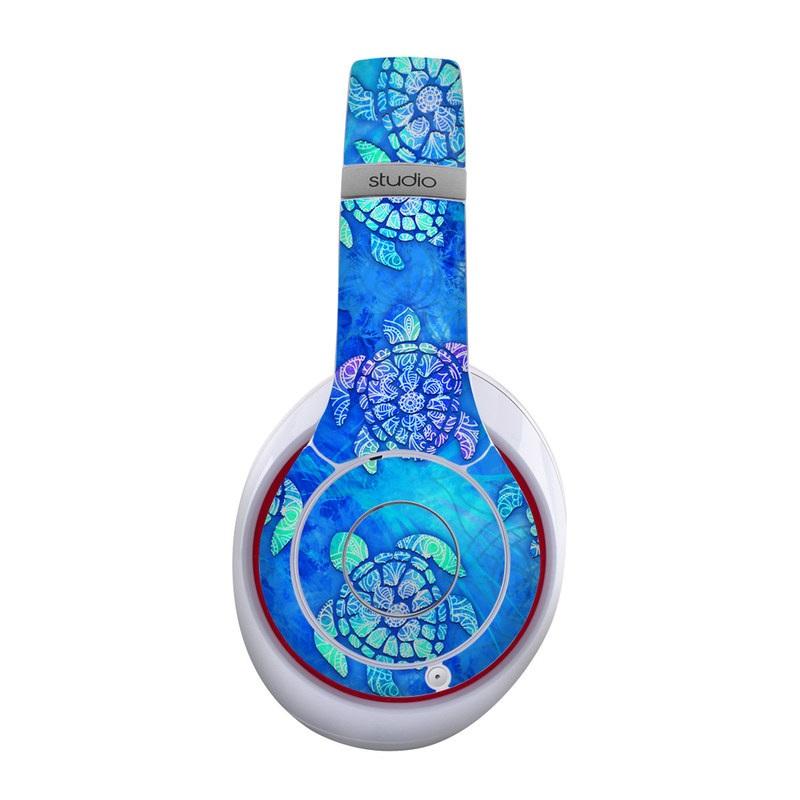 Beats Studio Wireless Skin design of Blue, Pattern, Organism, Design, Sea turtle, Plant, Electric blue, Hydrangea, Flower, Symmetry with blue, green, purple colors