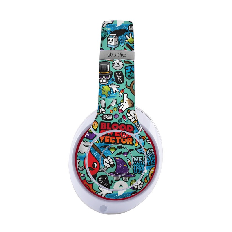 Beats Studio3 Wireless Skin design of Cartoon, Art, Pattern, Design, Illustration, Visual arts, Doodle, Psychedelic art with black, blue, gray, red, green colors