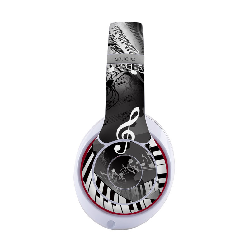 Beats Studio3 Wireless Skin design of Music, Monochrome, Black-and-white, Illustration, Graphic design, Musical instrument, Technology, Musical keyboard, Piano, Electronic instrument with black, gray, white colors