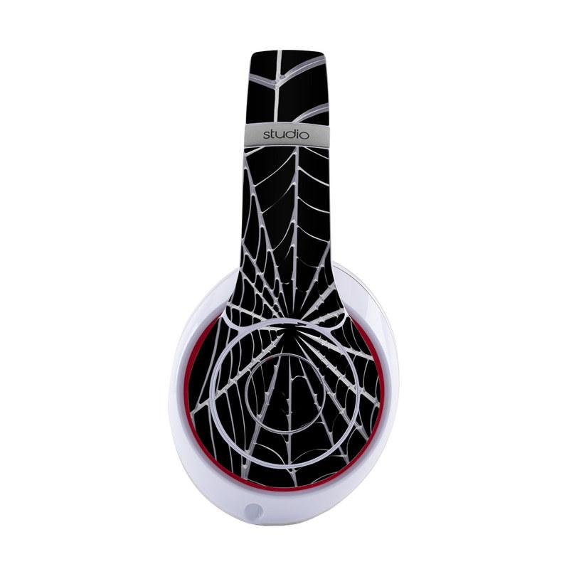 Beats Studio3 Wireless Skin design of Spider web, Black-and-white, Monochrome photography, Black, Monochrome, Pattern, Symmetry, Line, Leaf, Design with black, gray colors