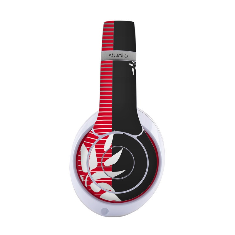 Beats Studio3 Wireless Skin design of Tree, Branch, Plant, Graphic design, Bamboo, Illustration, Plant stem, Black-and-white with black, red, gray, white colors