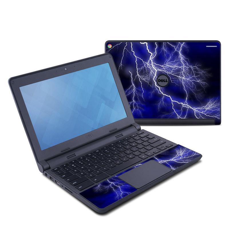 Dell Chromebook 11 Skin design of Thunder, Lightning, Thunderstorm, Sky, Nature, Electric blue, Atmosphere, Daytime, Blue, Atmospheric phenomenon with blue, black, white colors
