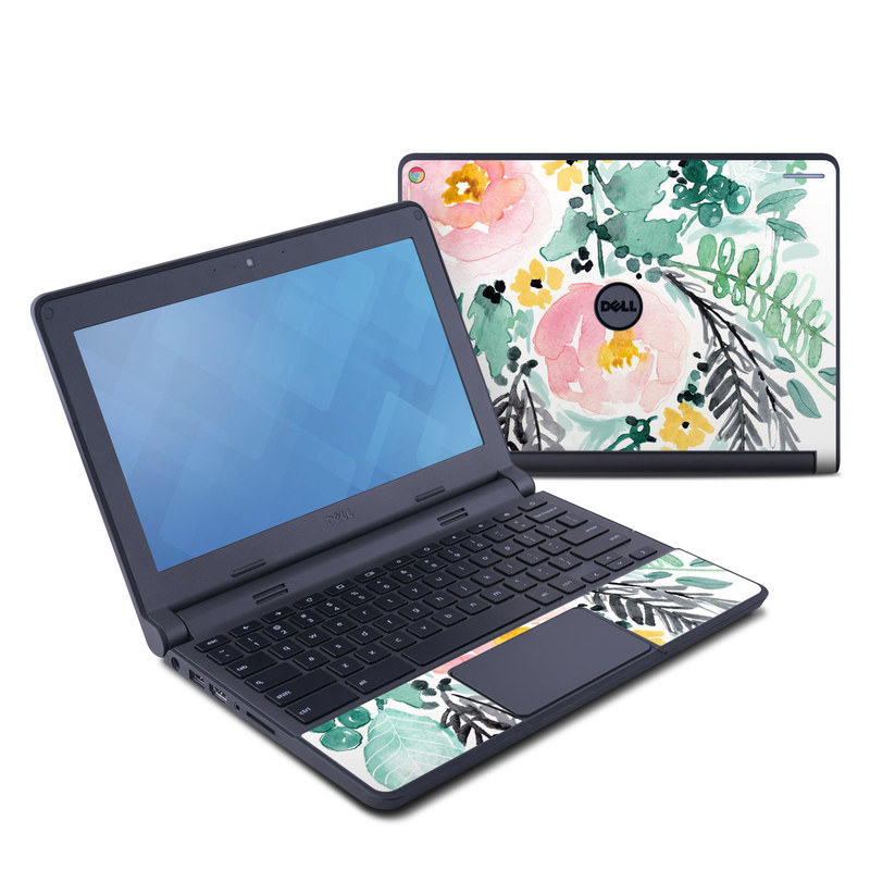 Dell Chromebook 11 Skin design of Branch, Clip art, Watercolor paint, Flower, Leaf, Botany, Plant, Illustration, Design, Graphics with green, pink, red, orange, yellow colors