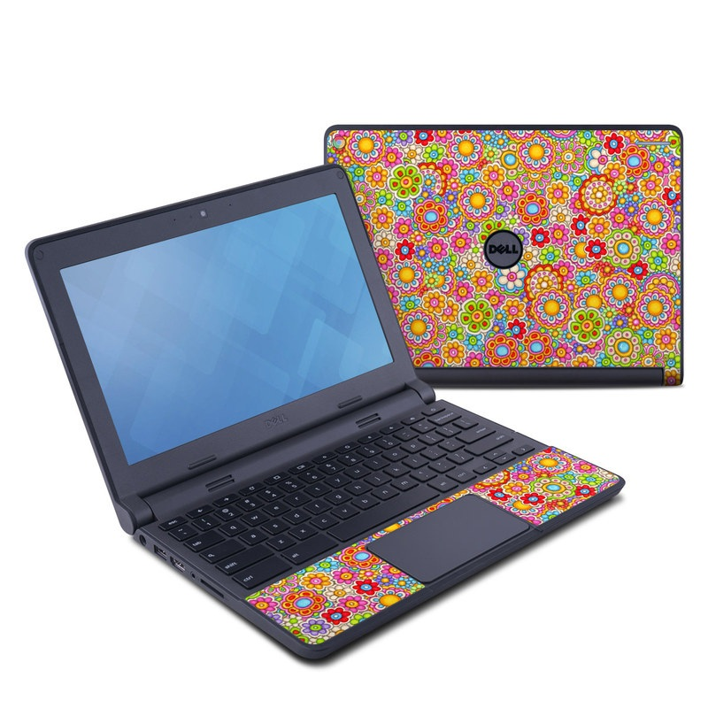 Dell Chromebook 11 Skin design of Pattern, Design, Textile, Visual arts with pink, red, orange, yellow, green, blue, purple colors