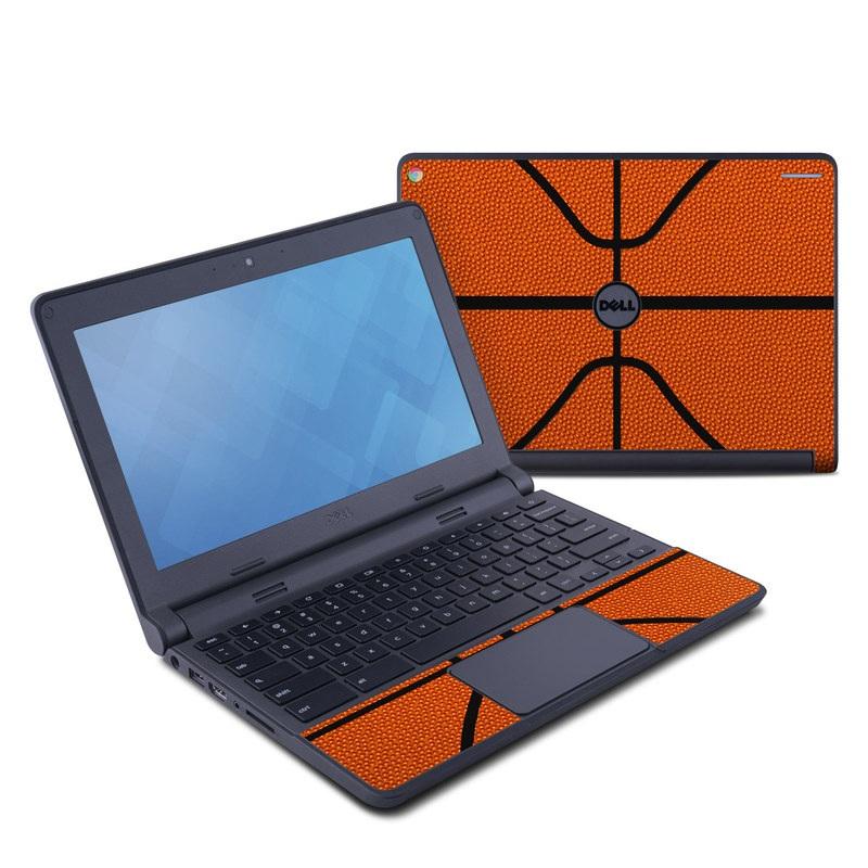 Dell Chromebook 11 Skin design of Orange, Basketball, Line, Pattern, Sport venue, Brown, Yellow, Design, Net, Team sport with orange, black colors