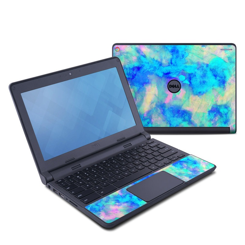 Dell Chromebook 11 Skin design of Blue, Turquoise, Aqua, Pattern, Dye, Design, Sky, Electric blue, Art, Watercolor paint with blue, purple colors
