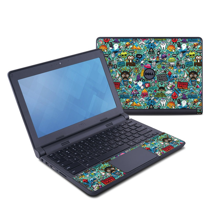 Dell Chromebook 11 Skin design of Cartoon, Art, Pattern, Design, Illustration, Visual arts, Doodle, Psychedelic art with black, blue, gray, red, green colors