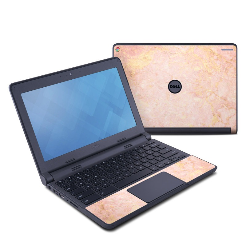 Dell Chromebook 11 Skin design of Pink, Peach, Wallpaper, Pattern with pink, yellow, orange colors