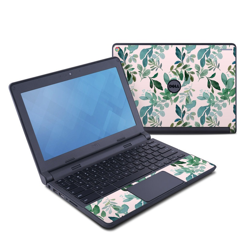 Dell Chromebook 11 Skin design of Pattern, Green, Leaf, Design, Plant, Tree, Military camouflage with white, green, blue colors
