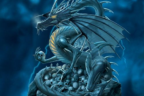BLU R1 HD Skin design of Cg artwork, Dragon, Mythology, Fictional character, Illustration, Mythical creature, Art, Demon with blue, yellow colors