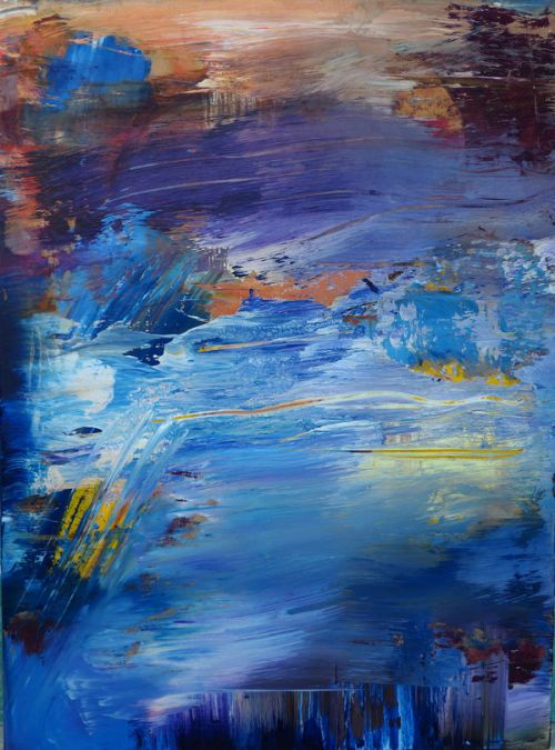 Design of Painting, Blue, Modern art, Acrylic paint, Sky, Watercolor paint, Art, Visual arts, Paint, Electric blue with blue, purple, yellow, brown, orange, black colors
