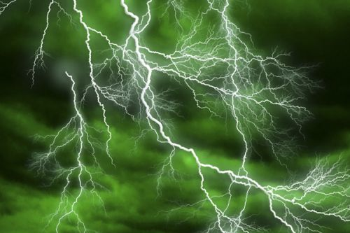 Design of Thunderstorm, Thunder, Lightning, Nature, Green, Water, Sky, Atmosphere, Atmospheric phenomenon, Daytime with green, black, white colors