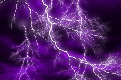 Sprint U300 Skin design of Thunder, Lightning, Thunderstorm, Sky, Nature, Purple, Violet, Atmosphere, Storm, Electric blue with purple, black, white colors