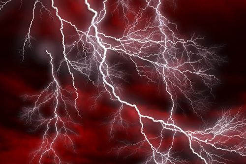 Design of Thunder, Thunderstorm, Lightning, Red, Nature, Sky, Atmosphere, Geological phenomenon, Lighting, Atmospheric phenomenon with red, black, white colors