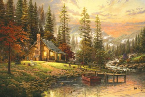 Design of Natural landscape, Nature, Painting, Tree, Landscape, Morning, Sky, Biome, Sunlight, Forest with orange, red, green, brown colors