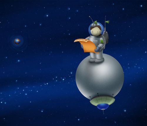Design of Cartoon, Atmosphere, Animation, Illustration, Outer space, Astronomical object, Sky, Space, Planet, Animated cartoon with blue, gray, orange colors