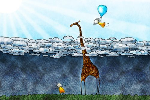 Design of Giraffe, Sky, Tree, Water, Branch, Giraffidae, Illustration, Cloud, Grassland, Bird with blue, gray, yellow, green colors