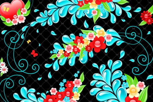 iPhone 4s Clip Case design of Pattern, Visual arts, Illustration, Design, Floral design, Art, Graphic design, Plant, Wildflower, Flower with black, blue, pink, red, green colors
