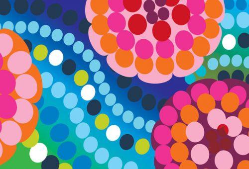 Design of Pattern, Circle, Orange, Colorfulness, Design, Line, Polka dot, Graphic design, Graphics, Heart with blue, green, pink, orange, purple colors