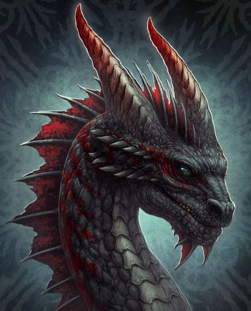 Amazon Kindle Fire HD 6 2014 Skin design of Dragon, Fictional character, Mythical creature, Demon, Cg artwork, Illustration, Green dragon, Supernatural creature, Cryptid with red, gray, blue colors