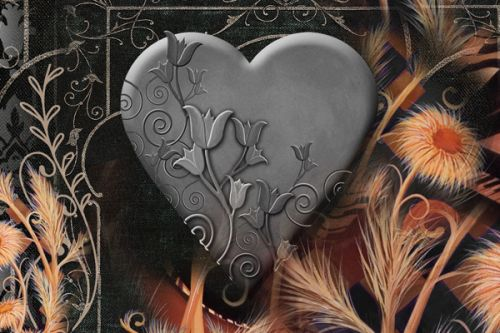 Design of Heart, Organ, Love, Art, Illustration with black, gray, orange colors