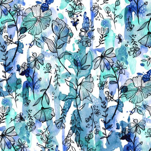 Design of Blue, Pattern, Turquoise, Aqua, Design, Textile, Wildflower, Plant, Wrapping paper, Gift wrapping with blue, white, black, purple colors