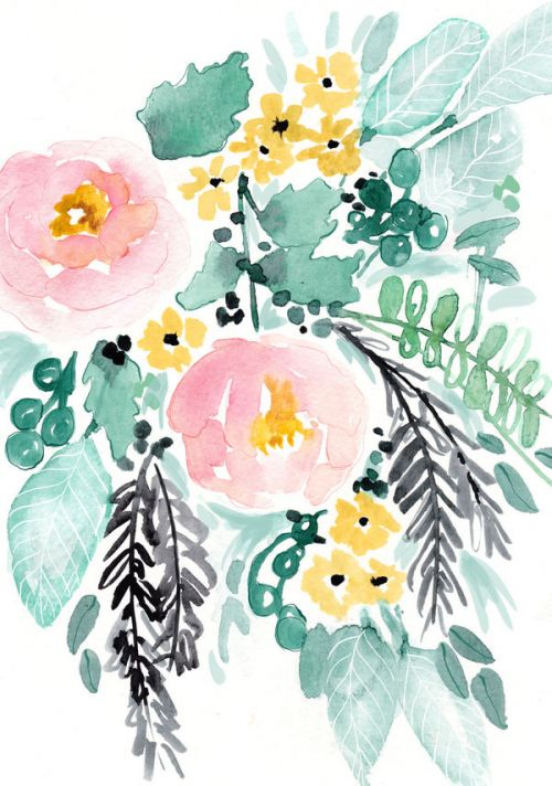 GoPro Hero3 Skin design of Branch, Clip art, Watercolor paint, Flower, Leaf, Botany, Plant, Illustration, Design, Graphics with green, pink, red, orange, yellow colors