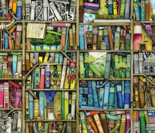 Velocity Micro Cruz T301 Skin design of Collection, Art, Visual arts, Bookselling, Shelving, Painting, Building, Shelf, Publication, Modern art with brown, green, blue, red, pink colors
