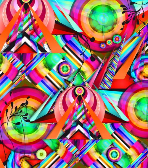 LG Marquee LS855 Skin design of Psychedelic art, Pattern, Design, Graphic design, Colorfulness, Visual arts, Circle, Art with red, pink, green, yellow, orange colors