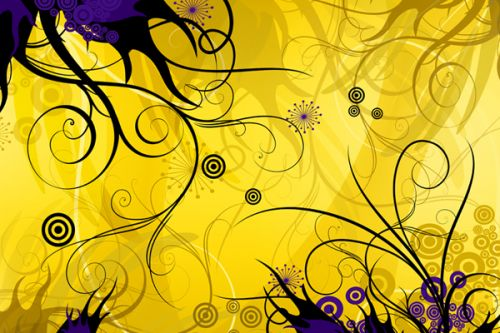 Design of Yellow, Pattern, Floral design, Purple, Graphic design, Design, Wallpaper, Art, Illustration, Visual arts with orange, yellow, black, purple colors