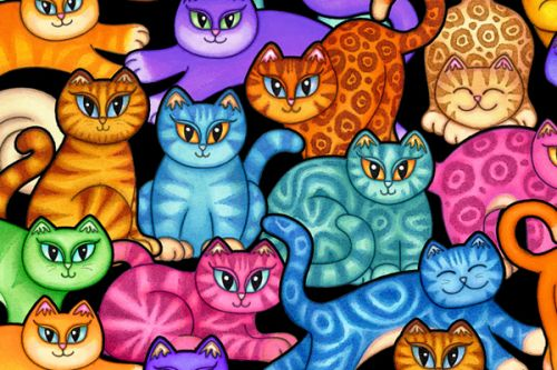 Design of Cat, Cartoon, Felidae, Organism, Small to medium-sized cats, Illustration, Animated cartoon, Wildlife, Kitten, Art with black, blue, red, purple, green, brown colors