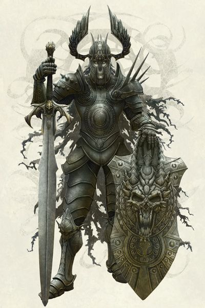 Design of Armour, Demon, Illustration, Warlord, Knight, Fictional character, Mythology, Cg artwork, Supernatural creature, Orc with gray, black, pink, yellow, green colors