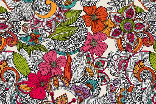 Design of Pattern, Drawing, Visual arts, Art, Design, Doodle, Floral design, Motif, Illustration, Textile with gray, red, black, green, purple, blue colors
