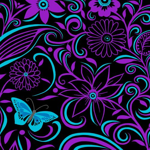 Design of Pattern, Purple, Violet, Turquoise, Teal, Design, Floral design, Visual arts, Magenta, Motif with black, purple, blue colors