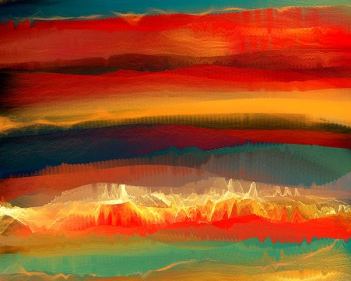 Design of Sky, Red, Horizon, Afterglow, Orange, Painting, Acrylic paint, Watercolor paint, Sunset, Geological phenomenon with red, blue, green, yellow, orange, white colors