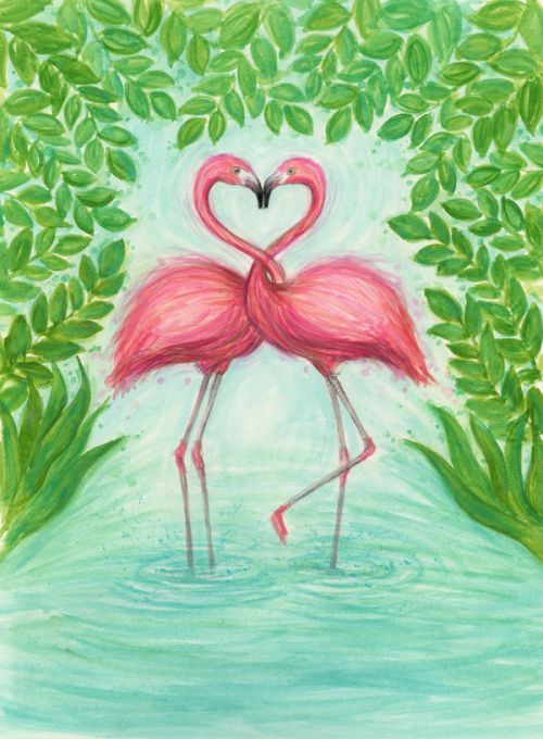 Design of Flamingo, Greater flamingo, Bird, Water bird, Pink, Illustration, Watercolor paint, Organism, Drawing, Stork with pink, blue, green colors