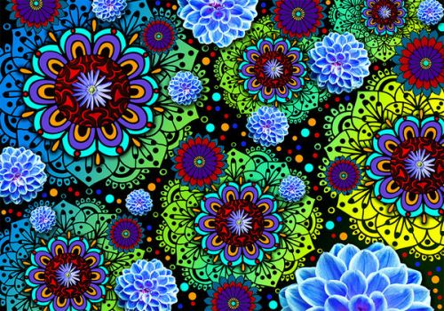 Design of Pattern, Psychedelic art, Design, Flower, Art, Visual arts, Floral design, Plant, Textile, Symmetry with black, blue, green, purple colors