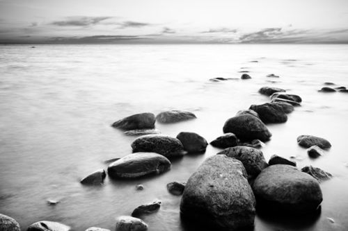 Tablet Sleeve design of Body of water, Monochrome photography, Black-and-white, White, Rock, Nature, Water, Shore, Black, Sea with gray, white, black colors