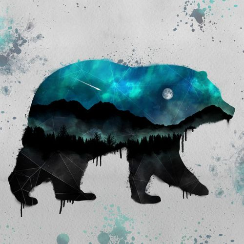 Design of Bear, Illustration, Grizzly bear, Art, Watercolor paint, Snout, Carnivore, Graphic design, Space, Polar bear with gray, black, white, green, blue colors