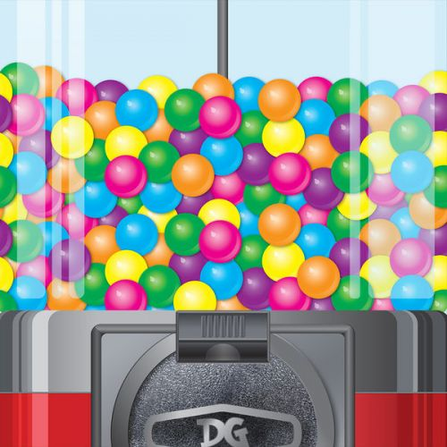 Design of Machine, Chew, Sweets, Candy, Vending with red, gray, black, blue, pink, purple, green, yellow, orange colors