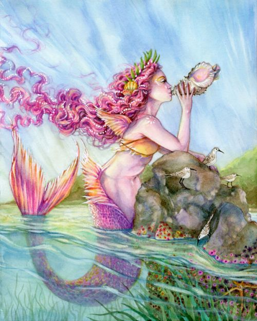 Design of Cg artwork, Mythology, Illustration, Fictional character, Watercolor paint, Art, Painting, Plant, Mythical creature with blue, pink, purple, green, gray colors
