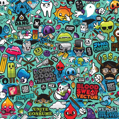 LG Accolade VX5600 Skin design of Cartoon, Art, Pattern, Design, Illustration, Visual arts, Doodle, Psychedelic art with black, blue, gray, red, green colors