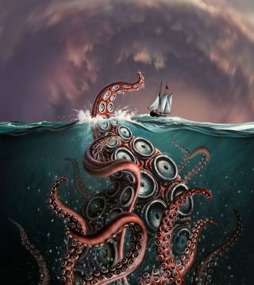 Barnes & Noble NOOK Simple Touch Skin design of Octopus, Water, Illustration, Wind wave, Sky, Graphic design, Organism, Cephalopod, Cg artwork, giant pacific octopus with blue, gray, white, brown, red colors