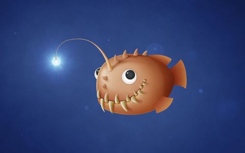 Design of Animated cartoon, Fish, Animation, Anglerfish, Organism, Deep sea fish, Illustration, Bony-fish with blue, brown, white colors