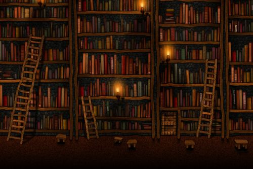 HP Pre 3 Skin design of Shelving, Library, Bookcase, Shelf, Furniture, Book, Building, Publication, Room, Darkness with black, red colors
