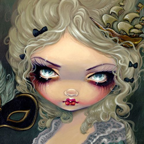 Design of Face, Hair, Doll, Head, Illustration, Cheek, Close-up, Art, Lip, Eyelash with black, gray, green, red, pink colors