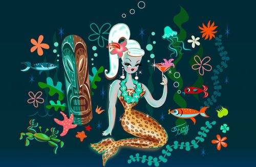 Design of Mermaid, Illustration, Organism, Fictional character, Art, Graphic design with blue, red, green, brown, white, pink, orange colors