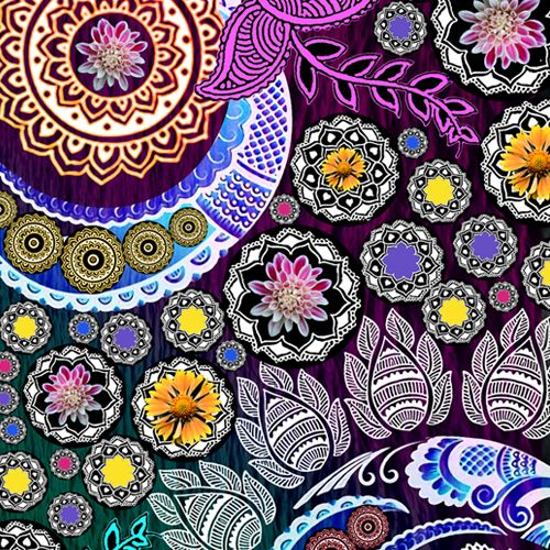 Design of Pattern, Psychedelic art, Art, Visual arts, Design, Floral design, Textile, Motif, Circle, Illustration with black, gray, purple, blue, green, red colors