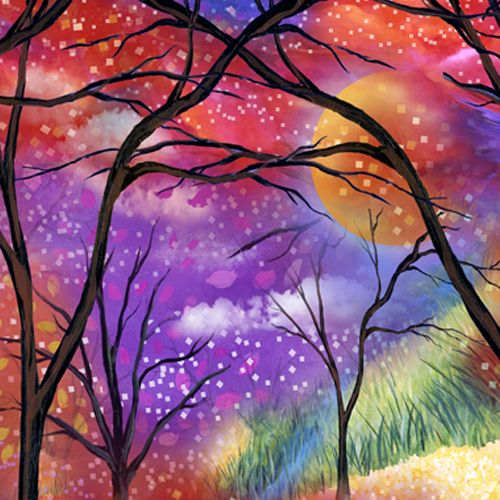 Design of Nature, Tree, Natural landscape, Painting, Watercolor paint, Branch, Acrylic paint, Purple, Modern art, Leaf with red, purple, black, gray, green, blue colors